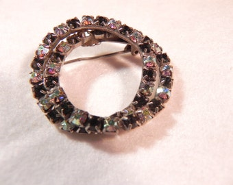 Vintage Pin Double Circle Prong Set  Aurora Borealis and Black Crystal s