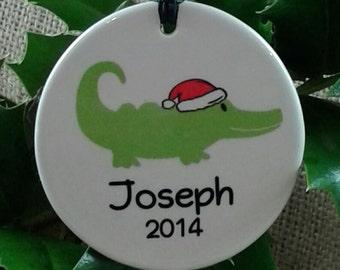 Personalized Santa Gator Ornament