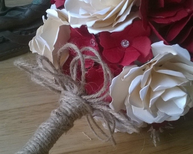 Red and Ivory Bridal Bouquet with Rustic Accent, Paper Wedding Bouquet, Wedding Bouquet, Paper Roses, Wedding Flowers