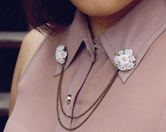 white rose collar tips, collar brooch, handmade rose