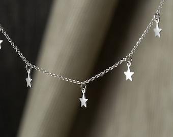 Dainty Necklace  5 stars Tiny Sterling Silver Stars Necklace Star Necklace Delicate Birthday gift  winter stars Birthday necklace for mom