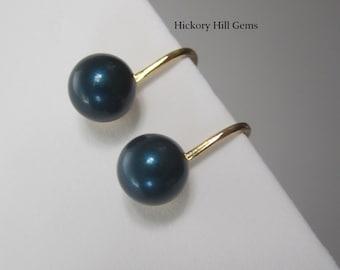 Clip On Earrings BLUE clip on earrings SWAROVSKI elements Pearls Petrol Navy Blue Pearl clip-on earrings GOLD plated 8mm blue bead earring