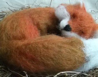 Needle Felted Fox Animal Handmade Sleeping Red Fox Ready To Ship
