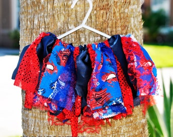 Spiderman Fabric Scrap Tutu Skirt Halloween Special Occasion and Birthday