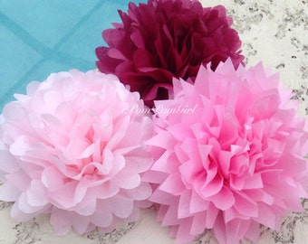 PINK SWEETHEART / 12 tissue paper pom poms / Baby Shower, Birthday, Wedding, Bridal Shower, Nursery Decor