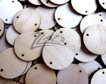 """50 1"""" x 1/8"""" Wooden Circle Celebrate Family Birthday Date Board Disc 2-2mm Holes Wood Laser Cutouts"""