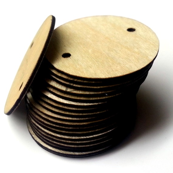50 thin 1 x 1 32 wooden circle 2 2mm holes craft for Wood circles for crafts
