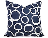 Navy Blue Pillow Covers - Two Navy and White Throw Pillow Covers - Navy Couch Pillow - Navy Accent Pillows - Decorative Pillow