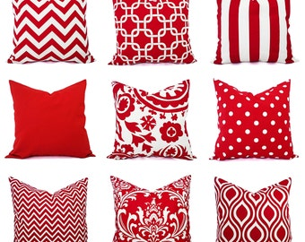 Red Pillow Covers - Decorative Throw Pillow Cover - Red Couch Pillows - Red Pillow Sham - Red Euro Sham - Red Throw Pillow - Holiday Pillows