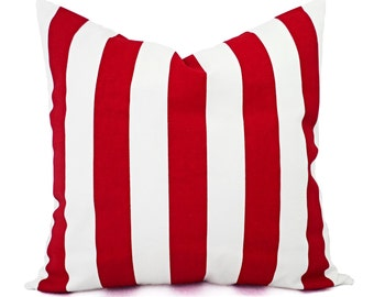 Two Red Striped Pillow Covers - Red Pillow Cover - Decorative Throw Pillow - Red Holiday Pillow - Red Pillow Sham - Red Pillow Case