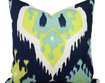 Two Decorative PIllow Covers - Navy Ikat Pillows - Green Pillow - Blue Pillow - Ikat Pillow Cover - Blue Green Pillow Sham - Ikat Pillow
