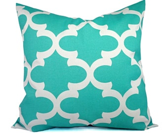 Two Indoor Outdoor Pillow Covers - Quatrefoil Pillow Covers - Aqua Pillow -Teal Pillows - Patio Pillow - Accent Pillow - Turquoise Pillows