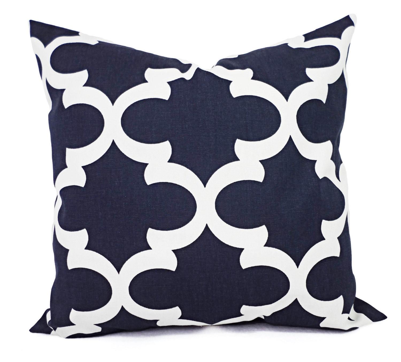 Quatrefoil Decorative Pillow : Decorative Pillows Two Navy Quatrefoil Pillow Covers