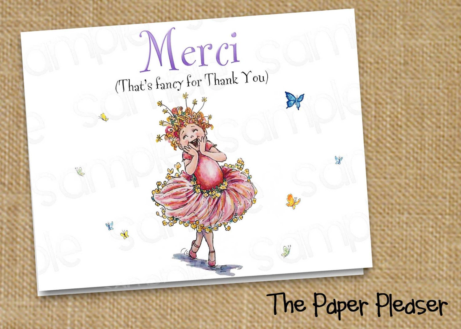 fancy nancy thank you cards by thepaperpleaser on etsy
