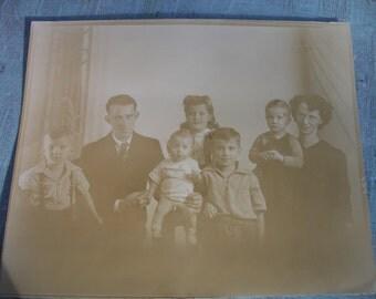 Vintage 1930's Sepia Tone Family Portrait Photo