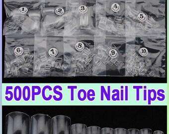 500 Pieces Clear French False Acrylic UV Gel 3D Nail Art Toe Tips