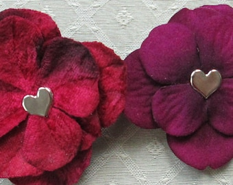 Heart Mini Hair Flower Clips/Pins or Shoe Clips - 4 Colors/Styles!