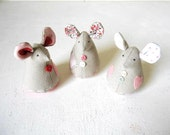 Fabric Mice Soft figurine Toy softie linen cotton gray pink green white room decor Set of 3 Ready to ship