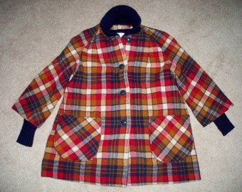 Vintage Sharpe Made in USA Plaid Oranges/ Reds WOOL Winter Hunting Hippie Women's Jacket Coat Size 12