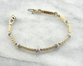 Classic Yellow And White Gold Diamond Bracelet -PE1DTW