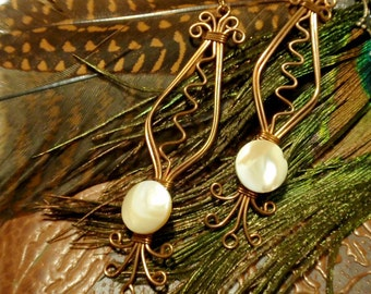 mother of pearl, Wire Wrapped Earrings, wire wrapped jewelry handmade
