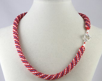 Russian Spiral Beaded Necklace in Red, White and Blue