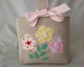 Pretty Children's / Girls Fabric Easter Basket, Easter Bag, Spring Flower Design
