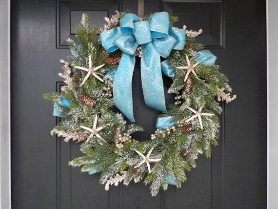 Seashell Christmas Wreath Seashell Holiday Wreath Coastal