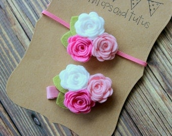 Sister headband set - mommy and me set - pink and white