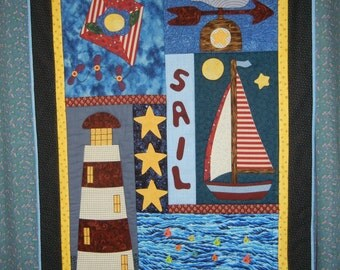 Smooth Sailing.....handmade art quilt, wall hanging 37.5in. x 28.5in.