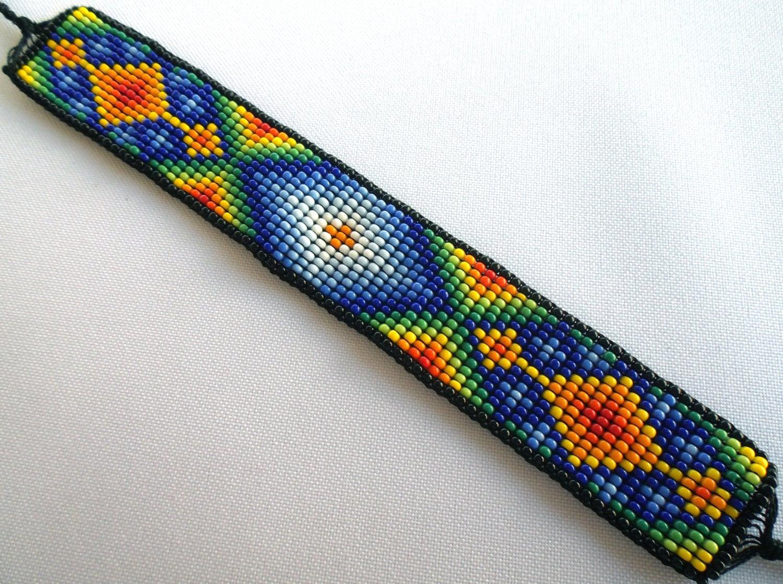 mexican huichol loom beaded bracelet