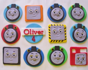 12 THOMAS or ROSIE Train Personalized Edible Fondant Cupcake Toppers