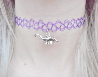 Brontosaurus Diplodocus Dinosaur Jurassic Pendant Purple Tattoo Choker Silver Necklace Jewellery Jewelry