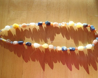 Sunshine necklace:  Asymmetrical gemstone sunstone, moonstone, faceted sodalite and faceted yellow jade Solid .925 Sterling silver necklace