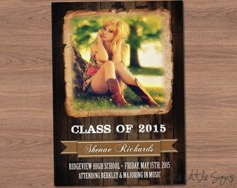 Wood Country Graduation Announcement Digital Download