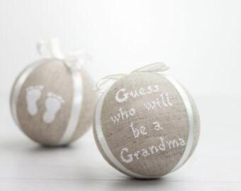 Christmas Pregnancy Announcement Ornament, Holiday Pregnancy Announcement, Grandparent to be Ornament, Pregnancy Announcement Christmas
