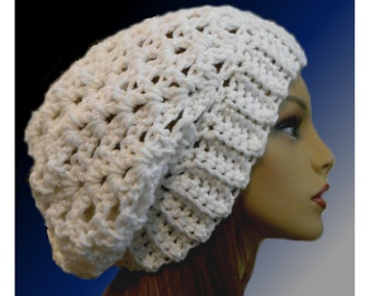 WHITE SLOUCHY BEANIE Hat Crochet Knit Slouchie Beany Chunky Hat Sparkles White Wool Slouch Women Hats Accessories Teen Gift Idea