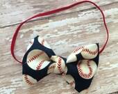 Adorable Baseball Ball Baby, Toddler-Boys Bow Tie- Red, White & Navy baseball print Fabric Elastic Neck strap OR Pin back option