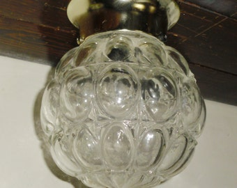Clear Vintage Fancy Bubble Glass Ball Globe Shade on Union Made Electric