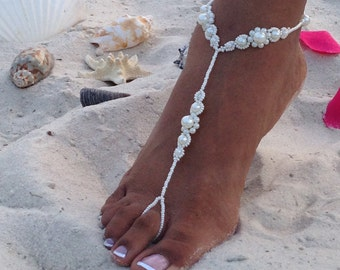 Pearl Bridal Barefoot Sandals, Wedding Barefoot Sandals, Beach Wedding Barefoot Sandal, Bridal Foot Jewelry, Footless Sandal