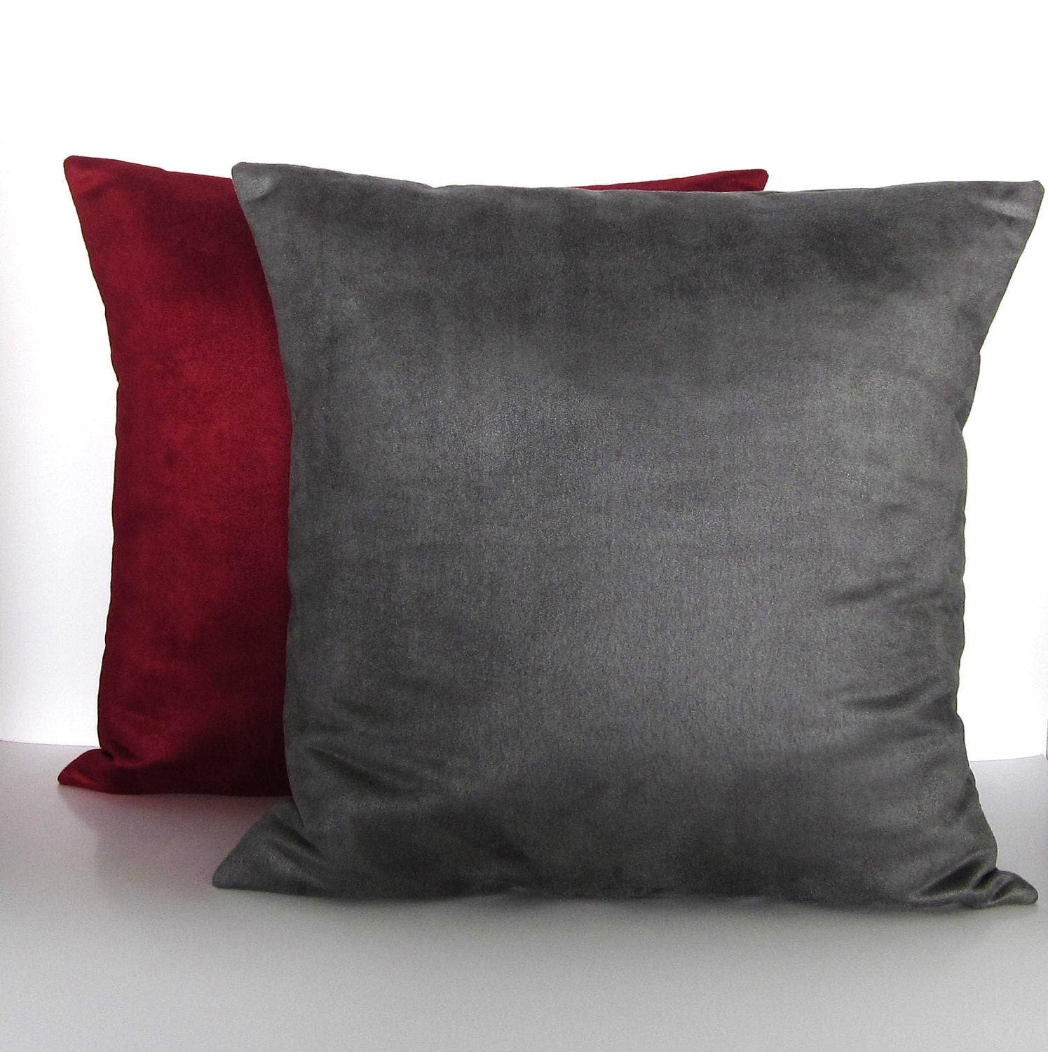 Gray Burgundy Suede Pillow Covers Decorative Accent Throw