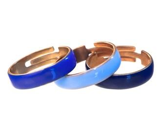 ASTAN enameled rings combo // navy, light blue and ultramarine