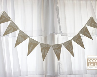 MADE TO ORDER Burlap and Lace Banner- personalized
