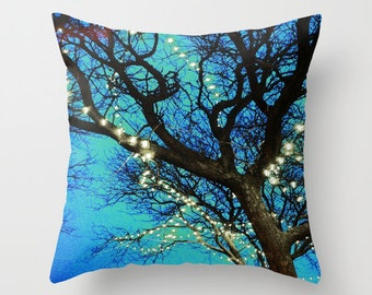 Twilight Branches Photo Throw Pillow Cover, home decor, photo pillow, blue, black, white lights,  nature, trees, decor