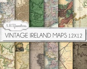 "Vintage maps digital paper, ""VINTAGE IRELAND MAPS"" backgrounds,antique maps, dublin, old world Ireland, sepia ireland maps, scrapbooking"