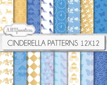 "Cinderella digital papers ""Cinderella Patterns"" inspired by Disney's Princess Cinderella movie with glass slipper, horse & carriage"