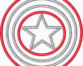 Captain America Applique Embroidery Design Inspired by Captain America Super Hero embroidery
