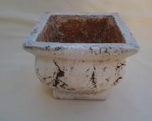 Vintage Square Plaster Planter ~ Small  Container ~ 1990's ~ Jardiniere ~ Florists Planter ~ Pot ~ Concrete Look