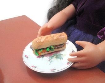 "American Girl Doll Food, American Girl Food, Doll Food, 18"" Doll Food, AG 18"" Dolls, Beef and Cheddar Submarine on Whole Wheat Bread 1/3"