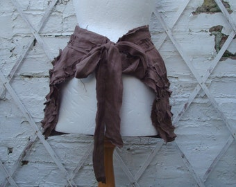Upcycled  Brown Bustle Skirt  Woman's Clothing Tribal Tatterd Wild Shredded Ruffles Pleated Distressed Cotton Lace Hand Dyed Layers